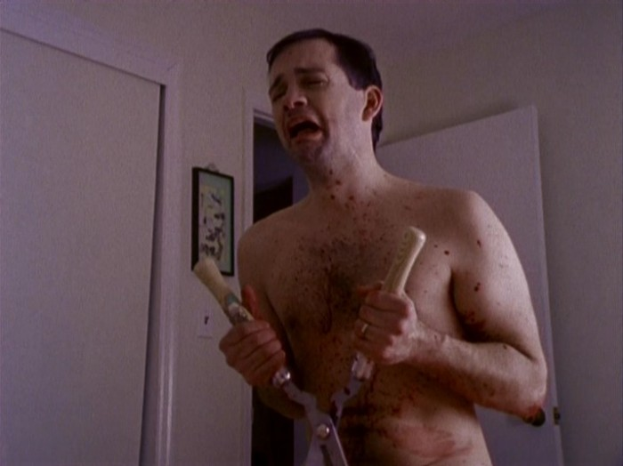 Cutting Moments - disturbing and gory horror film, man castrating himself