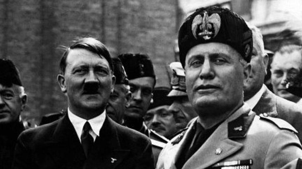 Benito Mussolini with Adolf Hitler. Facist world leaders.