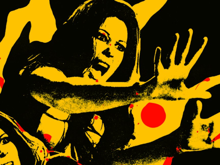 Graphically altered photograph in yellow and black of a woman screaming with her hands held in front of her. Splatters of red blood drops are on the image.